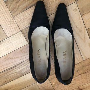Prada vintage satin shoes metallic silver heel
